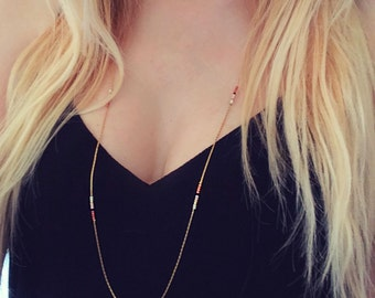 Extra Thin Long Bead & Chain Necklace // Minimalist Layering Boho Necklace // Simple Elegant Bohemian Jewelry // CO130-CP