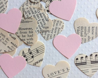 Vintage Wedding - Romantic Vintage Heart Confetti with Blush Pink Hearts