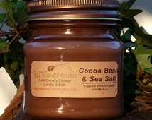 COCOA BEAN and Sea Salt CANDLE - Highly Scented - Chocolate - New