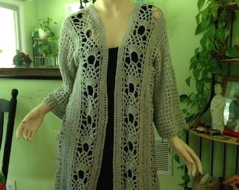 Sweater, Extra extra long cardigan, 2X, 3X gray, women, sweaters