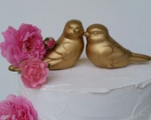 Wedding Cake Topper Gold Love birds Home Decor Ceramic Vintage Birds
