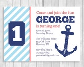 Printable 5x7 Nautical Boy's 1st Birthday Party Invitation in Blue, Red and Navy Blue with Anchor - Digital Download