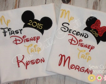 My First Trip Mouse Shirt, My Second Trip mouse shirt, Boy Mouse shirt, Boy Mouse ears shirt, Girl mouse ears shirt, sew cute creations