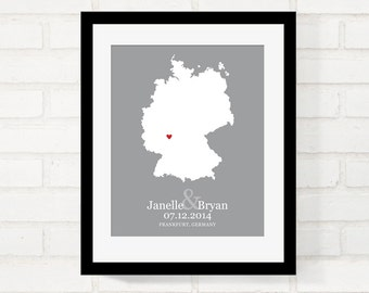Germany Map Wedding Gifts, Personalized Wedding Country, Custom Country 8x10 Map Print, First Year Anniversary, Long Distance, German bride