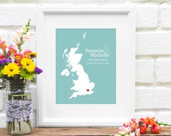 England Map Wedding Gifts, Personalized Wedding Country, Custom Country  Map Print, First Year Anniversary, Long Distance, UK bride