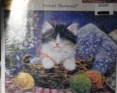 Counted Cross Stitch Kit, Candamar Designs, Stewart Sherwood, Kitty in Yarn Basket Picture, Cat Cross Stitch