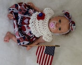 My first 4th of July! Beautiful dress and headband set for baby girls 0-3 months or reborn doll!