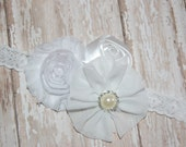 White Flower Girl Headband - Christening Headband - First Communion Headband - Infant Headband - Newborn Headband - Baby Headband