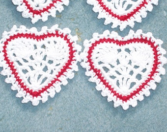 6 handmade red and white cotton thread crochet applique hearts --  2303