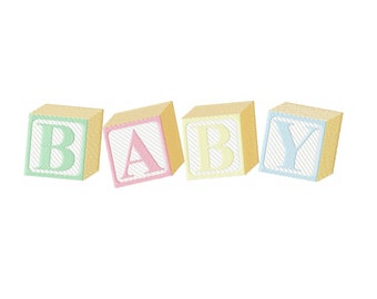Machine Embroidery Baby Blocks Alphabet, A to Z, and Numbers, 0 to 9, in five popular formats