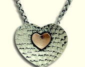 Heart pendant, boho necklace, hammered necklace, Valentines necklace, mixed metals necklace, silver gold necklace - Heartwarming N8940-1