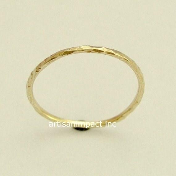 14k Yellow Gold Ring, White Gold Ring, Rose Gold Ring, Wedding Band, Thin Wedding Ring, Hammered Gold Ring, Delicate Ring - Smile RG1595