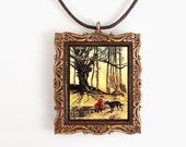 Little Red Riding Hood Rustic Polymer Clay Picture Frame Pendant and Necklace - Brothers Grimm story illustrated by Arthur Rackham