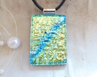 Dichroic Pendant, Glass Jewelry, Fused Glass, Yellow, Aqua, Light Blue, Necklace Included, A7