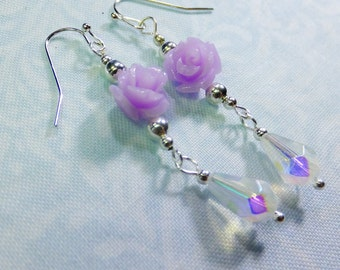 Rose Lover Earrings Lavender Resin Rose Beads with Crystal Teardrop Beads Dangle