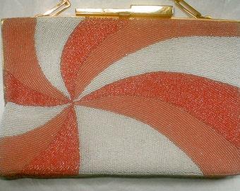 Pierre Cardin Beaded Purse - Pinwheel Pink and Melon Vintage 60s - Signature Gold Chain Shoulder Purse Evening 3 Season Clutch