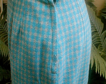 Womens Wool High Waisted Pencil Skirt - Turquoise and Gray Checked Woven Woolen fabric - Lined - Covered Button
