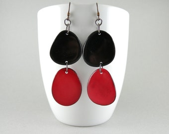 Black and Red Tagua Nut Eco Friendly Earrings with Free USA Shipping SALE #taguanut #ecofriendlyjewelry