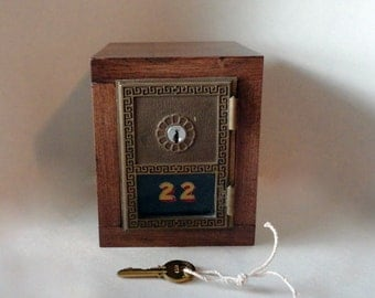 Bronze YALE Wagonwheel Post Office Door Bank Wood Keyed Lockbox Antique USPS Groomsman Wedding Party Bronze Dad Guy Manly 8th Anniversary