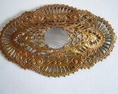 Large Antique Oxidized Brass Victorian Filigree Stamping