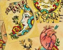 Folk Art POSTCARDS Mexican Loteria Tattoo Art - Set of 8 Designs
