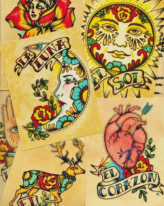 Folk Art POSTCARDS Mexican Loteria Tattoo Art - Set of 8 Designs