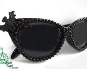 Bats & Black Pearls Cat Eye Gothic Psychobilly Sun Glasses