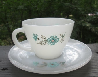 Vintage Fire King Cup and Saucer -  Bonnie Blue by Anchor Hocking