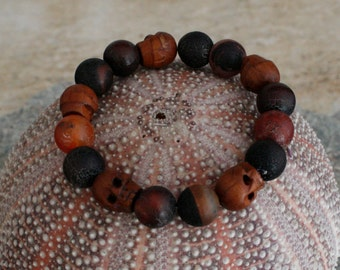 Matte Agate Bracelet with Wood Skulls