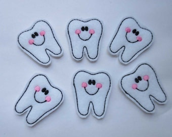 Happy Tooth with Pink Cheeks Felt Embroidered Embellishments - 187
