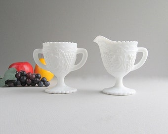 Vintage Milk Glass Creamer, Sugar Bowl, Imperial Glass