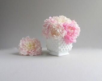 Vintage Milk Glass Hobnail Flower Pot,  Milk Glass Planter, Hobnail Planter, Square Flower Pot, Milk Glass Vase, Wedding Vase, Wedding Decor