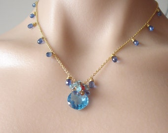 Azzurro-- swiss blue topaz,sapphires,kyanite,apatite and 18k vermeil necklace
