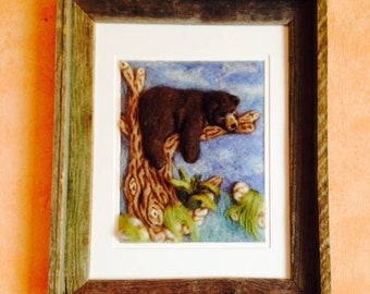 Bear in Tree Needle Felted Painting