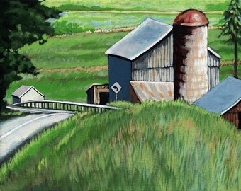 Landscape Country summer farm barn from my original painting