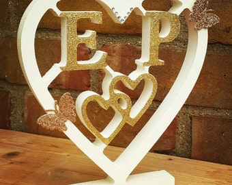 Freestanding heart with initials