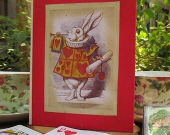 Alice in Wonderland Antiqued Journal, vintage, white rabbit
