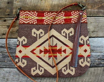 Navajo Southwestern Upholstery Bag with Leather Strap Tassel