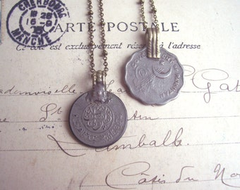 Vintage Coin necklaces - middle eastern boho pendants - layering