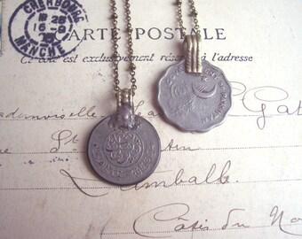 Vintage Coin necklaces - middle eastern boho pendants - handmade