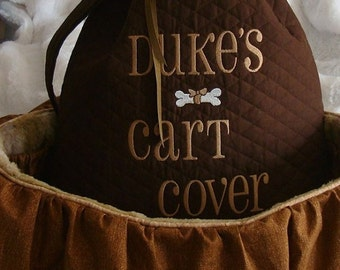 Shopping Cart Cover - Dogs - Pets - Faux Fur Seat - Includes Tote - Embroidered Personalization