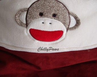 Sock Monkey Snuggle Sack -  Minky and UltraSuede Dog or Cat Snuggle Sack - Personalization Included