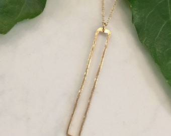 Open 14kt gf rectangle necklace