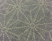 Preprinted Sashiko Asanoha hemp leaf design FADED BLUE Japanese cotton fabric