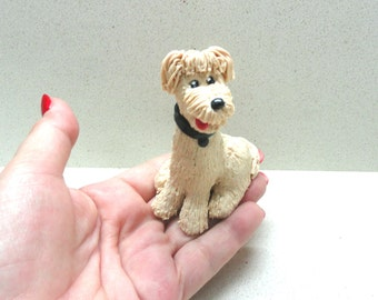 Sculpture small collectible dog  polymer clay dog small figurine home decor dog