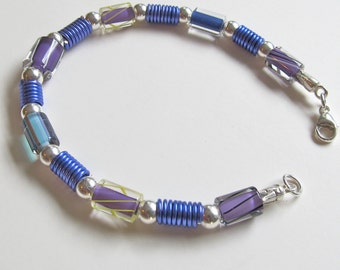 Shades of Purple Cane Glass and Silver Bracelet - Purple Furnace Glass and Silver Bracelet - Cane Glass and Coiled Wire Bracelet - 215012