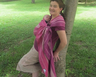 Wrap Conversion Linen Blend Ring Sling Baby Carrier - Little Frog Linen Amethyst - DVD included