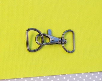 FREE SHIPPING--10 of 1.5 inch with 0.75 inch Loop End Gunmetal Clasps Lobster Claw Hooks and 10 of 0.75 inch Gunmetal D-rings