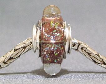 Bronze Glitter Dot Bead Handmade European Charm Lampwork Bracelet Bead Bronze Sparkle