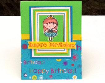 Children's Girl's Birthday Card, Yellow, Blue, Green with Doll Image, Happy Birthday Banner, Kids Card